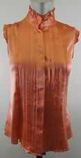 Ladies Emporio Armani Pink Silk Blouse With Pleat Folds On Front Size 38 Euro
