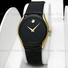 Men's Movado MUSEUM PVD Gold Trim Case Black Dial Leather Swiss Quartz Watch