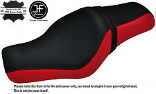BRIGHT RED & BLACK CUSTOM FOR HARLEY SPORTSTER 883 1200 TWO UP VINYL SEAT COVER