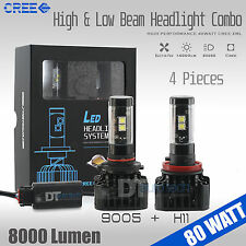 80W 8000LM CREE LED Headlight High & Low Beam Combo Light Bulbs White 9005+H11