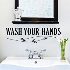 Wash Your Hands Bathroom Vinyl Wall quote Decal home Decor Wall Sticker Mural