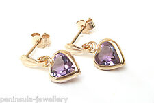 9ct Gold 6mm Amethyst Heart Drop earrings Gift boxed Made in UK