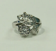 Estate Jewlery 14 K White Gold Flower Design Ring  With Diamonds