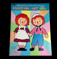 Vintage 1966 Raggedy Ann And Andy Original Uncut Paper Dolls And Clothes