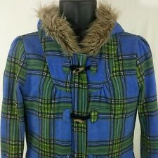 Roxy Jacket Full Zip Button Faux Fur Hood Blue Green Plaid Womens Size M