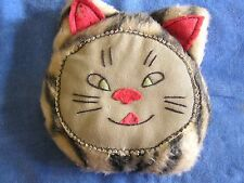 1920s VINTAGE CAT BEAN BAG HAND EMBROIDERED  RED FELT NOSE,EARS, MOUTH ADORABLE