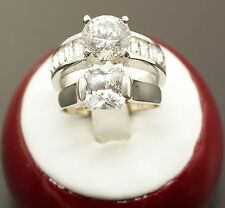 Sterling Silver & Silver Plated Cubic Zirconia Band Ring Set of 2 Size 7
