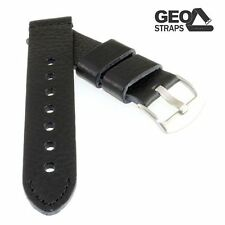Geo-Straps Rindlederuhrband Old Military schwarz SN - 24 mm softweiches Uhrband