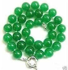 Charming! 10mm Green Emerald Gemstone Round Necklace 18""