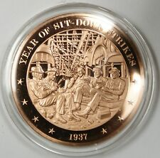 Bronze Proof Medal Year of Sitdown Strikes 1937