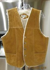 Vintage Leather Suede Western Snap Vest Made in Mexico Poly Pile Sherpa 42""