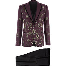 Dolce & Gabbana Runway Print 3-piece Silm Fit suit IT48 Armor Tuxedo Vest