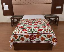Uzbek Bedspread Suzani Embroidered Wall Hanging Twin Indian Tapestry Art Bedding