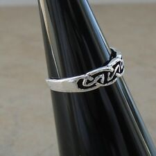 925 Sterling Silver Celtic Knot Toe Ring Oxidize Split Shank Adj Hall Unisex New
