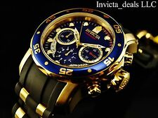 Invicta Men's Scuba Pro Diver Swiss Parts Chronograph 18K GP Blue Dial SS Watch