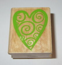 Spiral HEART Rubber Stamp Love Romance Hero Arts Wood Mounted Valentine's Day