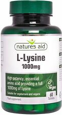 L - Lysine 1000mg 60 Tablets Vegan & Vegetarians - Natures Aid - FREE UK POST