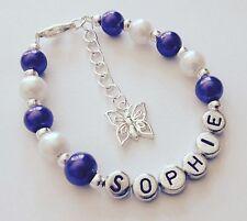 Chicas Personalizado Purple Butterfly encanto pulsera Joyas Regalo-cualquier nombre!!