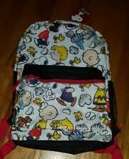 """NWT Peanuts Snoopy Charlie Brown All Over Print 17"""" Backpack NEW Lucy Linus"""