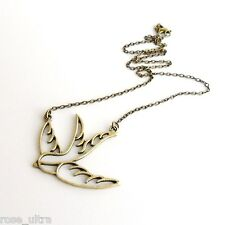Swallow Necklace in Antique Bronze, Vintage Tattoo Retro Rockabilly Bird Pendant