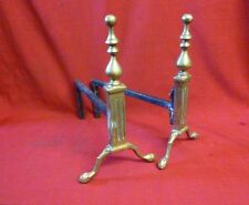 "Vintage Pair of 14"" Brass Fire Dogs Andirons Fireplace"