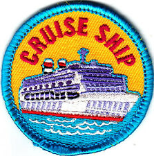 """CRUISE SHIP"" PATCH - Iron On Embroidered Applique-Vacation, Cruising, Trips"