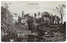 Lincluden Abbey, Dumfries - lake, boat, people - old postcard
