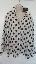LANVIN Polka Dot  Long Sleeves Top Blouse Sz 44 (L/XL) Made in France