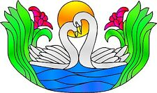 Multicoloured Swans Stained Glass Effect Window decoration Sticker LSSE2 Small