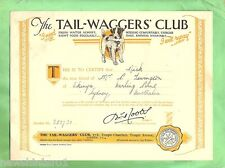 #D33. 1930 TAIL-WAGGERS' DOG CLUB CERTIFICATES & MAGAZINE