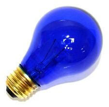 NEW (PACK OF 2) 25W 120V INCANDESCENT A19, E26 BASE TRANSPARENT BLUE LIGHT BULB