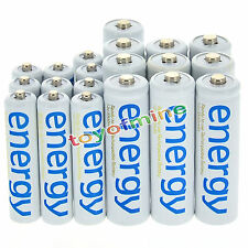 10x AA 3300mAh + 10x AAA 2000mAh Ni-Mh Energy Rechargeable Battery White Cell