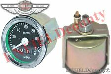 REPLICA SMITHS SPEEDO METER 0-120 MPH BLACK FACED BSA ROYAL ENFIELD MOTORCYCLE