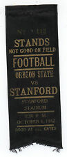 1962 College Football Ribbon Stanford University vs Oregon State