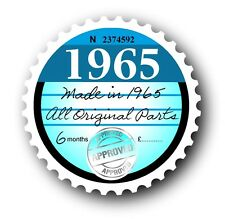 Retro 1965 Tax Disc Disk Replacement Vintage Novelty Licence Car sticker decal