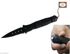 LED Tactical Survival Combat KNIFE Spring Assist With Built In FLASHLIGHT BLACK