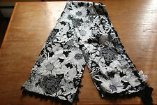 Liberty of London for Target Cotton Sarong Wrap Shawl Scarf Black White Tassels