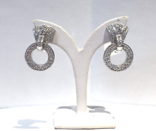 Judith Ripka Diamond Circle Drop Earrings in 18K White Gold