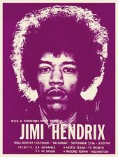 Jimi Hendrix POSTER Live in Texas **LARGE** Concert Tour Promo