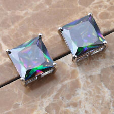 Generous Rainbow Topaz Gems 925 Sterling Silver Stud Earrings  P01529