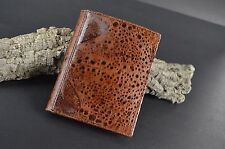 WALLET MENS BIFOLD GENUINE AUSTRAL TOAD SKIN LEATHER HANDMADE 11X8,5 HAVANA -502