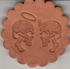 Angel and Demon Skull stamp. Delrin laser engraved clicker stamp