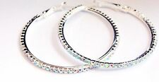 IRIDESCENT RHINESTONE HOOP EARRINGS RHODIUM SILVER 2 INCH HOOPS CRYSTAL
