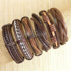 6pcs Wholesale Handmade genuine charm leather wrap bracelets for men -D120