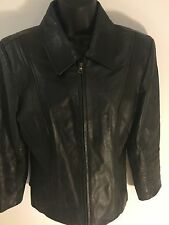 Jones Wear Sport Women's Size 12 Black Full Zip Leather Jacket