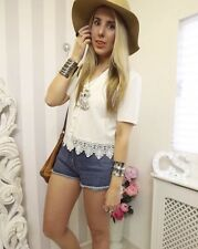 Cute Vtg 90s Bohemian Lace Festival Crochet Hippy boho Button up Top 10 12 Asos