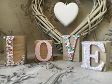 Vintage Shabby Chic Style Floral Wooden LOVE Blocks Cubes Letters Word Gift Home