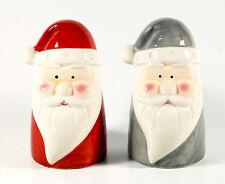 LA PORCELANA zwei Weihnachtsmann-Köpfe, rot und grau, Porzellan, 12 cm, schön!