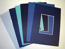 Picture Frame Mat 5x7 for 3.5x5 photo set of six Blues collection