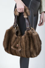 BROWN DEMI-BUFF MINK FUR BAG HANDBAG PURSE POUCH Visone-Nerz-Норка